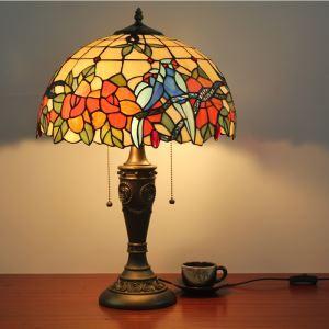 ステンドグラスランプ テーブルランプ ティファニーライト 卓上照明 オウム柄 2灯 D40cm LTTL004