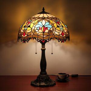 ステンドグラスランプ テーブルランプ ティファニーライト 卓上照明 寝室スタンド 2灯 16in TL002