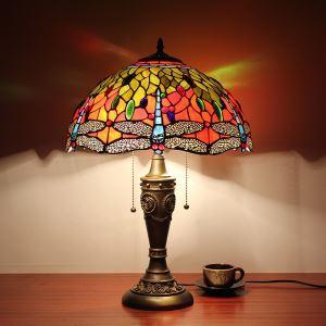テーブルランプ ステンドグラスランプ ティファニーライト 卓上照明 トンボ柄 2灯 D40cm STL012