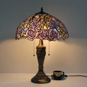テーブルランプ ステンドグラスランプ ティファニーライト 卓上照明 間接照明 寝室スタンド 2灯 16in STL015