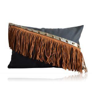 クッションカバー 抱き枕カバー 人工皮革 工業風 手作りフリンジ LFDP180