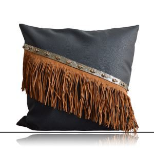 クッションカバー 抱き枕カバー 人工皮革 工業風 手作りフリンジ LFDP181