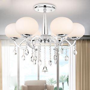 シャンデリア 照明器具 天井照明 リビング照明 店舗照明 クリスタル付 オシャレ 6灯