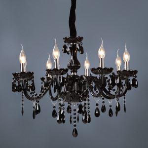 シャンデリア クリスタル照明 照明器具 リビング照明 黒色 姫系 豪華 8灯