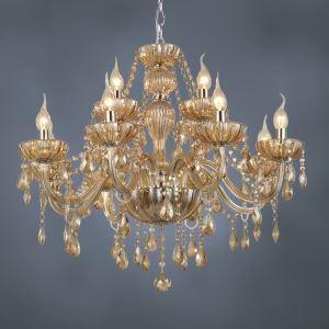 シャンデリア クリスタル照明 照明器具 リビング/店舗照明 琥珀色 オシャレ 豪華 12灯