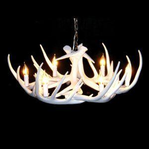 鹿角シャンデリア ペンダントライト 照明器具 リビング/店舗照明 樹脂製 6灯 白色 北欧風 LED対応