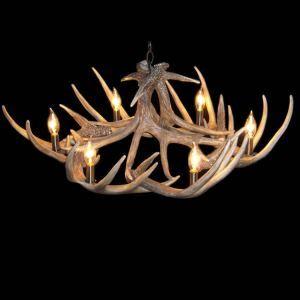 鹿角シャンデリア ペンダントライト 照明器具 店舗 リビング 寝室 樹脂製 6灯 茶褐色 北欧風 LED電球付