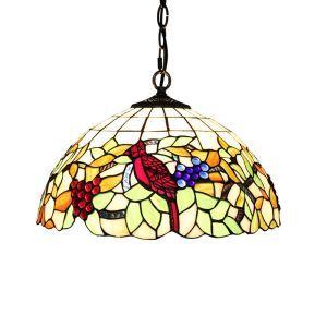 ステンドグラスランプ ペンダントライト ティファニーライト 照明器具 ブドウ&鳥 2灯 D40cm LTPL028