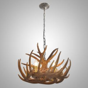鹿角シャンデリア ペンダントライト 照明器具 リビング 店舗 樹脂製 6灯 茶褐色 LED電球付 即日発送