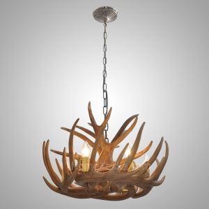 シャンデリア ペンダントライト リビング照明 ダイニング照明 鹿角照明 寝室 樹脂製 6灯 茶褐色 LED対応