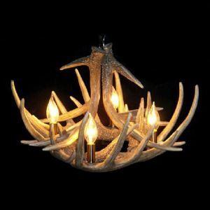 鹿角シャンデリア ペンダントライト 照明器具 樹脂製 4灯 茶褐色 北欧風 LED電球付