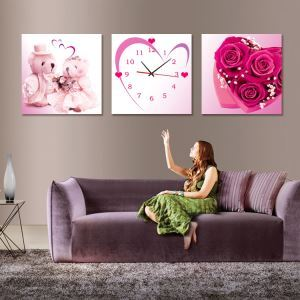 壁掛け時計 壁画時計 静音時計 キャンバス時計 おしゃれ 3枚パネル ハート