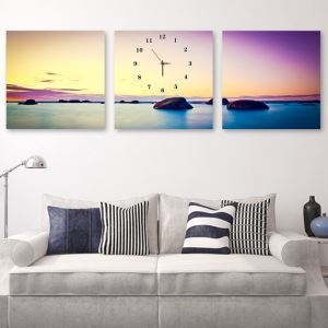 壁掛け時計 壁絵画時計 アート時計 静音時計 オシャレ 3枚パネル 日の出/日の入り