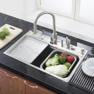 キッチンシンク(蛇口なし) 台所の流し台 #304ステンレス製流し台 MF7848A