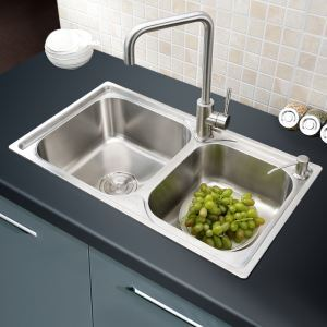 キッチンシンク(蛇口なし) 台所の流し台 キッチン用流し台 #304ステンレス製流し台 2槽 AOM7241