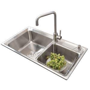 キッチンシンク(蛇口なし) 台所の流し台 キッチン用流し台 #304ステンレス製流し台 2槽 AOM7138M