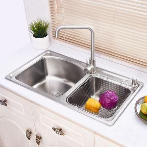 キッチンシンク(蛇口なし) 台所の流し台 キッチン用流し台 #304ステンレス製流し台 2槽 AOM8044