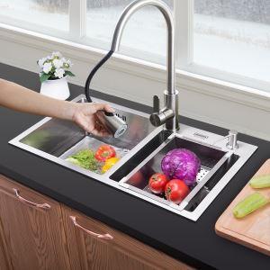 キッチン用流し台(蛇口なし) 台所の流し台 キッチンシンク 手作り #304ステンレス製流し台 2槽 HM7240