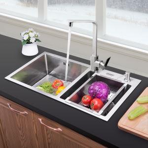 キッチン用流し台(蛇口なし) 台所の流し台 キッチンシンク 手作り #304ステンレス製流し台 2槽 HM7843