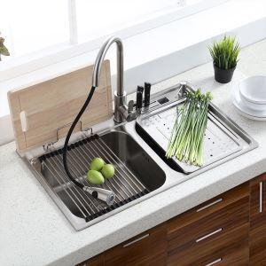 キッチンシンク(蛇口なし) 台所の流し台 キッチン用流し台 #304ステンレス製流し台 2槽 MF8048