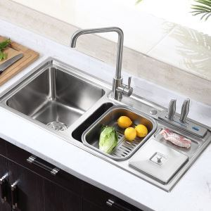 キッチンシンク(蛇口なし) 台所の流し台 キッチン用流し台 #304ステンレス製流し台 3槽 MF9143