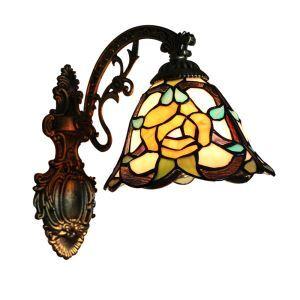 ステンドグラスランプ 壁掛け照明 ティファニーライト ブラケット 玄関照明 照明器具 花柄 1灯 8in WL011