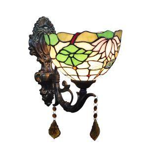 ステンドグラスランプ 壁掛け照明 ティファニーライト ブラケット 玄関照明 蓮花柄 1灯 8in WL024