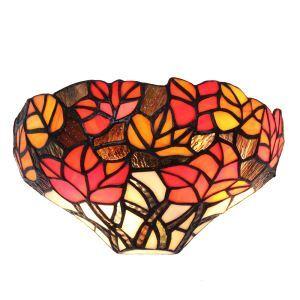 ステンドグラスランプ 壁掛け照明 ティファニーライト ブラケット 玄関照明 紅葉柄 1灯 12in WL095