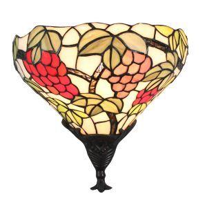 ステンドグラスランプ 壁掛け照明 ティファニーライト ブラケット 玄関照明 ブドウ柄 1灯 12in WL104