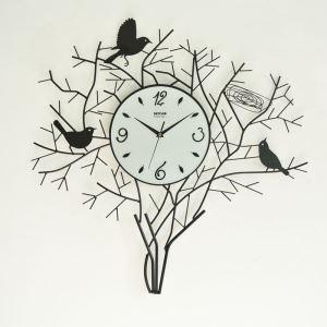 壁掛け時計 静音時計 アニマル時計 ツリー&鳥の造形 66cm