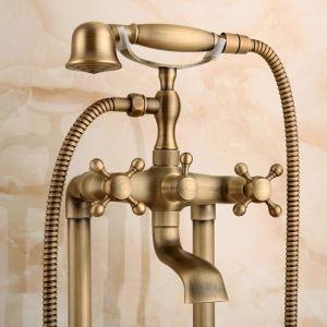 床置きシャワー水栓 床立ち上げ式浴槽蛇口 冷熱混合栓 バス水栓 ハンドシャワー付き 真鍮製 FTTB072