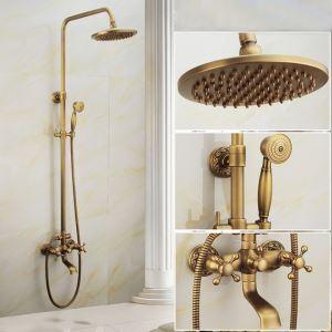 レインシャワーシステム シャワーバー バス水栓 ヘッドシャワー+ハンドシャワー+蛇口 真鍮製 FTTB074