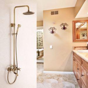 レインシャワーシステム シャワーバー バス水栓 ヘッドシャワー+ハンドシャワー+蛇口 真鍮製 FTTB075