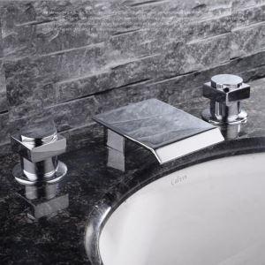 バス水栓 洗面蛇口 浴槽水栓 2ハンドル混合水栓 水道金具 滝蛇口 クロム FTTB013