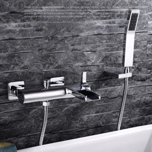 シャワー水栓 バス蛇口 ハンドシャワー 混合栓 蛇口付き 風呂用 クロム FTTB028