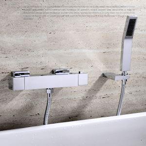 浴室シャワー水栓 壁付サーモスタット式混合栓 ハンドシャワー バス蛇口 風呂用 クロム FTTB031