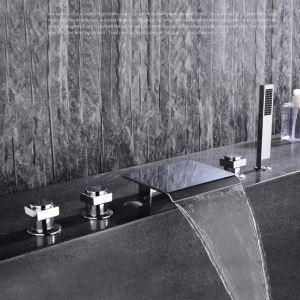浴槽蛇口 バス水栓 ハンドシャワー付き 滝蛇口 3ハンドル混合栓 クロム FTTB034