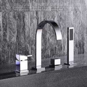 浴槽蛇口 バス水栓 ハンドシャワー付き 滝蛇口 2ハンドル混合栓 クロム FTTB035
