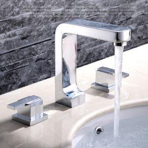 洗面蛇口 バス水栓 浴室蛇口 2ハンドル混合水栓 水道金具 クロム FTTB056