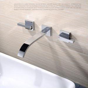 壁付水栓 洗面蛇口 バス水栓 浴室蛇口 2ハンドル混合水栓 水道金具 クロム FTTB009