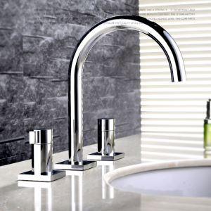 洗面蛇口 バス水栓 浴室蛇口 2ハンドル混合栓 クロム FTTB015