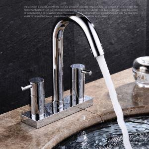 洗面蛇口 バス水栓 浴室蛇口 2ハンドル混合栓 水道金具 クロム FTTB017
