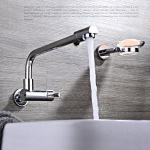 壁付水栓 洗面蛇口 バス水栓 浴室蛇口 単水栓 水道金具 クロム FTTB018