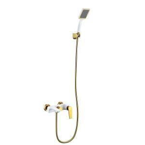 シャワー水栓 バス蛇口 ハンドシャワー 水栓金具 混合栓 風呂用 金色&白色 PVD043