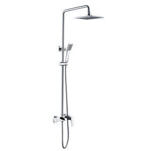 レインシャワーシステム シャワーバー ヘッドシャワー+ハンドシャワー+蛇口 バス水栓 クロム FT045