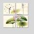 壁掛け時計 絵画時計 アート時計 静音 オシャレ 4枚パネル 蓮花