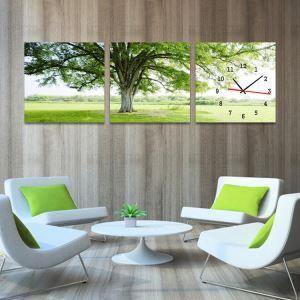 壁絵画時計 壁掛け時計 静音時計 3枚パネル 木柄