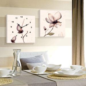 壁掛け時計 壁絵画時計 アート時計 静音 オシャレ 2枚パネル 芸術花 K561