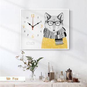 壁時計 壁絵画時計 静音時計 壁掛け時計 オシャレ 1枚パネル 狐