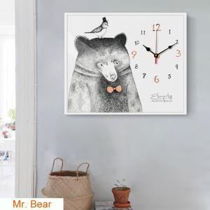壁時計 壁絵画時計 静音時計 壁掛け時計 オシャレ 1枚パネル 熊